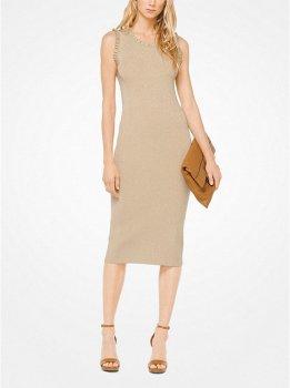 Ruffled Metallic Stretch-Viscose Dress
